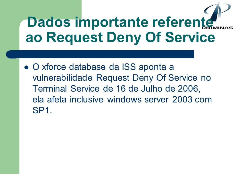Dados importante referente ao Request Deny Of Service O xforce database da ISS aponta a vulnerabilidade Request Deny Of Service no Terminal Service de