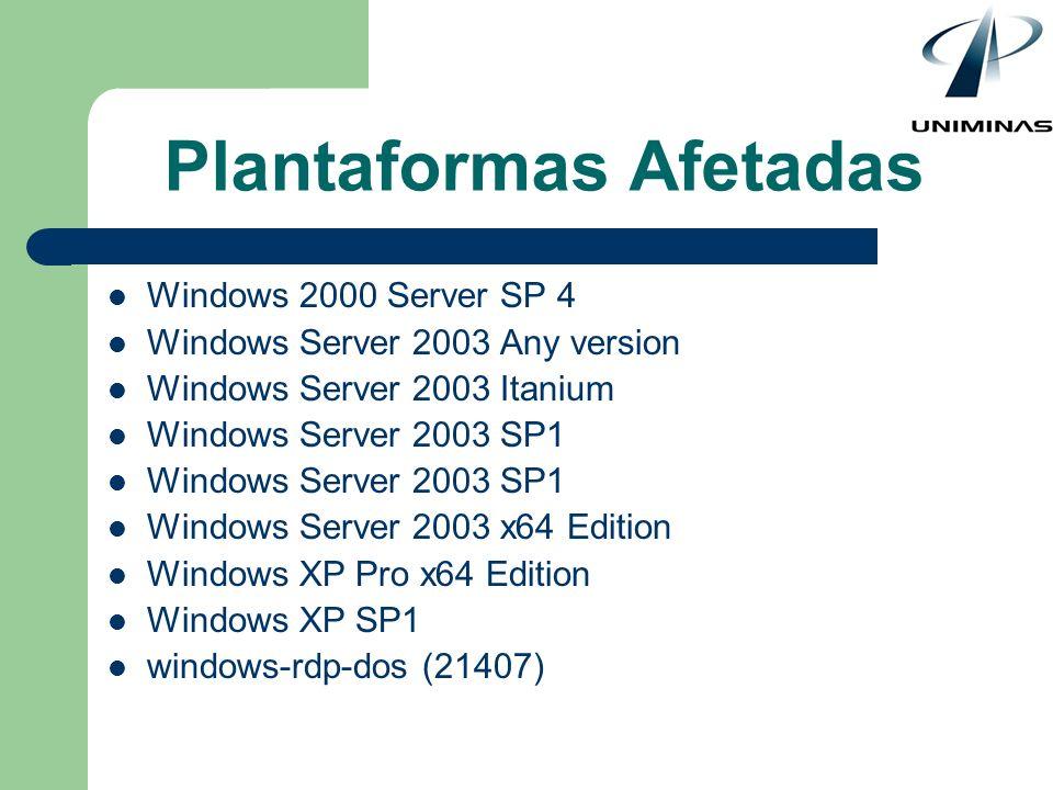 Plantaformas Afetadas Windows 2000 Server SP 4 Windows Server 2003 Any version Windows Server 2003 Itanium Windows Server 2003 SP1 Windows Server 2003