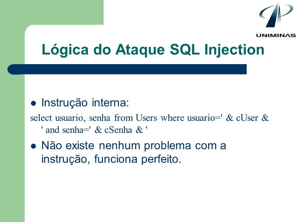 Instrução interna: select usuario, senha from Users where usuario=' & cUser & ' and senha=' & cSenha & ' Não existe nenhum problema com a instrução, f