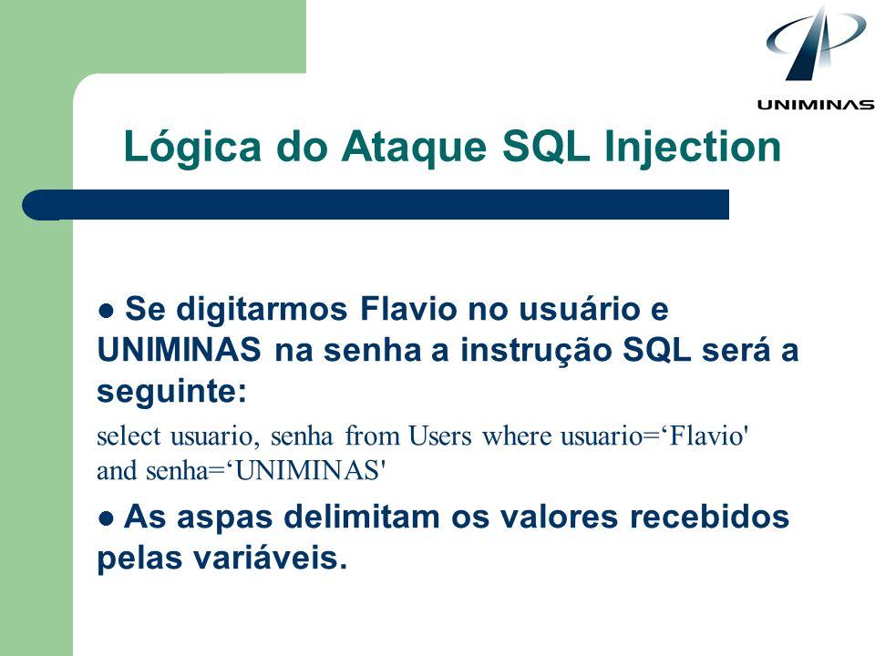 Se digitarmos Flavio no usuário e UNIMINAS na senha a instrução SQL será a seguinte: select usuario, senha from Users where usuario=Flavio' and senha=