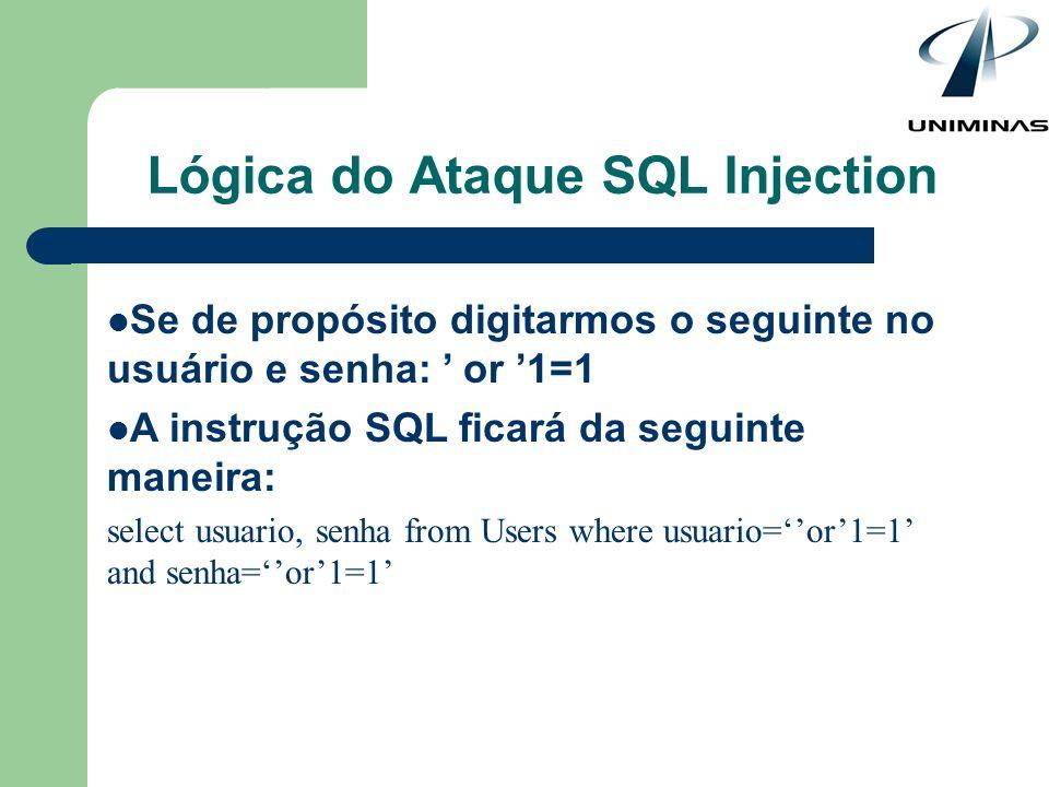 Lógica do Ataque SQL Injection Se de propósito digitarmos o seguinte no usuário e senha: or 1=1 A instrução SQL ficará da seguinte maneira: select usu