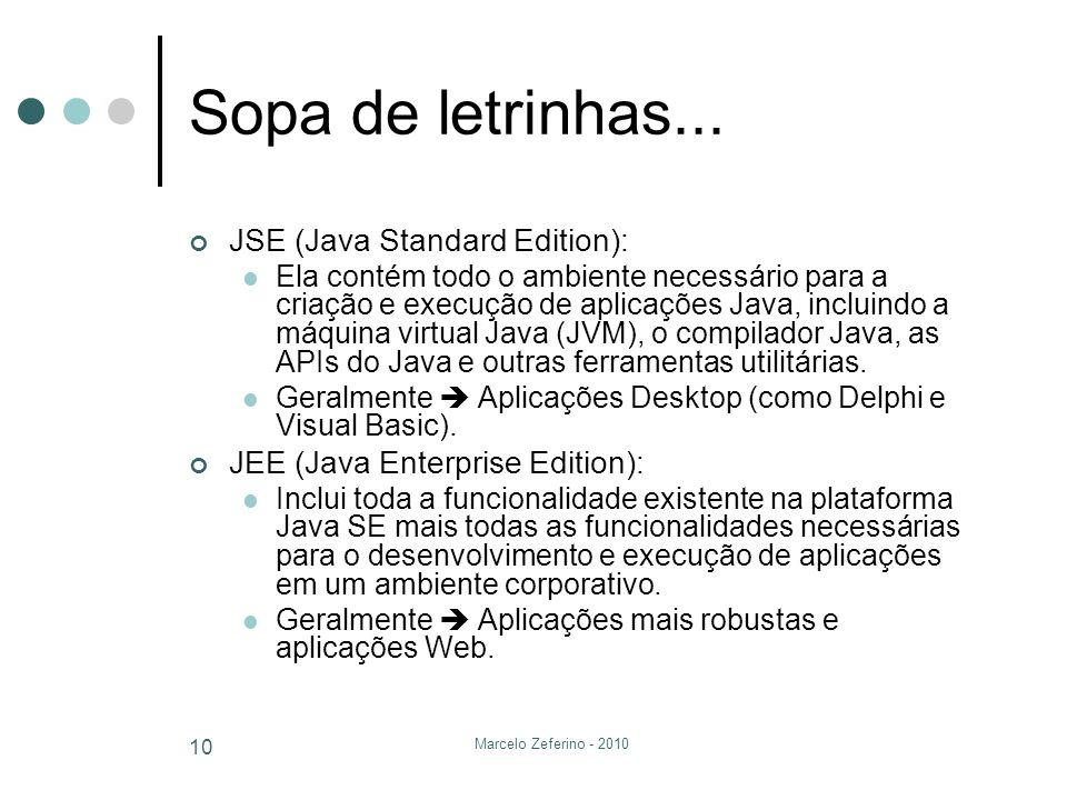 Marcelo Zeferino - 2010 10 Sopa de letrinhas... JSE (Java Standard Edition): Ela contém todo o ambiente necessário para a criação e execução de aplica