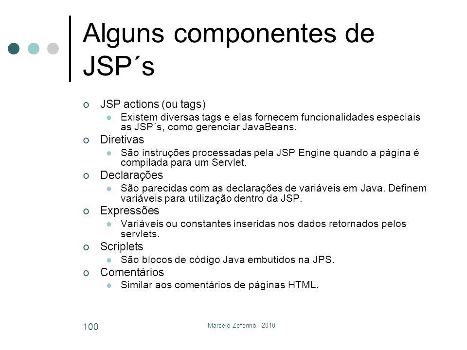 Marcelo Zeferino - 2010 100 Alguns componentes de JSP´s JSP actions (ou tags) Existem diversas tags e elas fornecem funcionalidades especiais as JSP´s