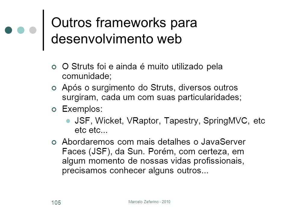 Marcelo Zeferino - 2010 105 Outros frameworks para desenvolvimento web O Struts foi e ainda é muito utilizado pela comunidade; Após o surgimento do St