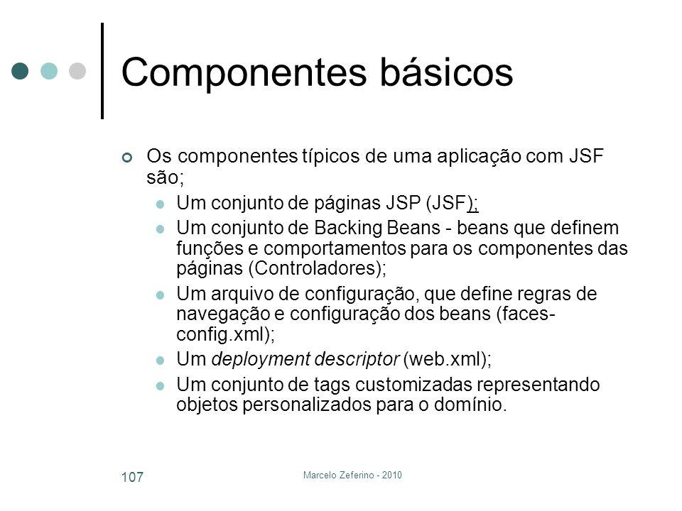 Marcelo Zeferino - 2010 107 Componentes básicos Os componentes típicos de uma aplicação com JSF são; Um conjunto de páginas JSP (JSF); Um conjunto de