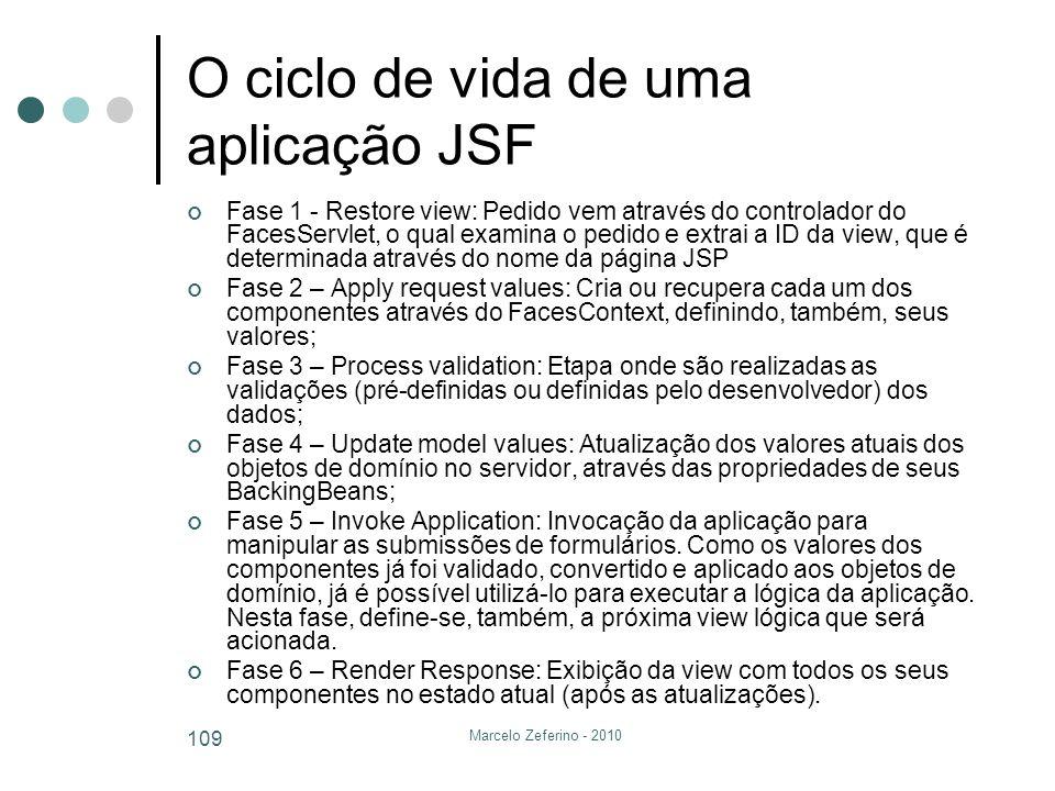 Marcelo Zeferino - 2010 109 O ciclo de vida de uma aplicação JSF Fase 1 - Restore view: Pedido vem através do controlador do FacesServlet, o qual exam