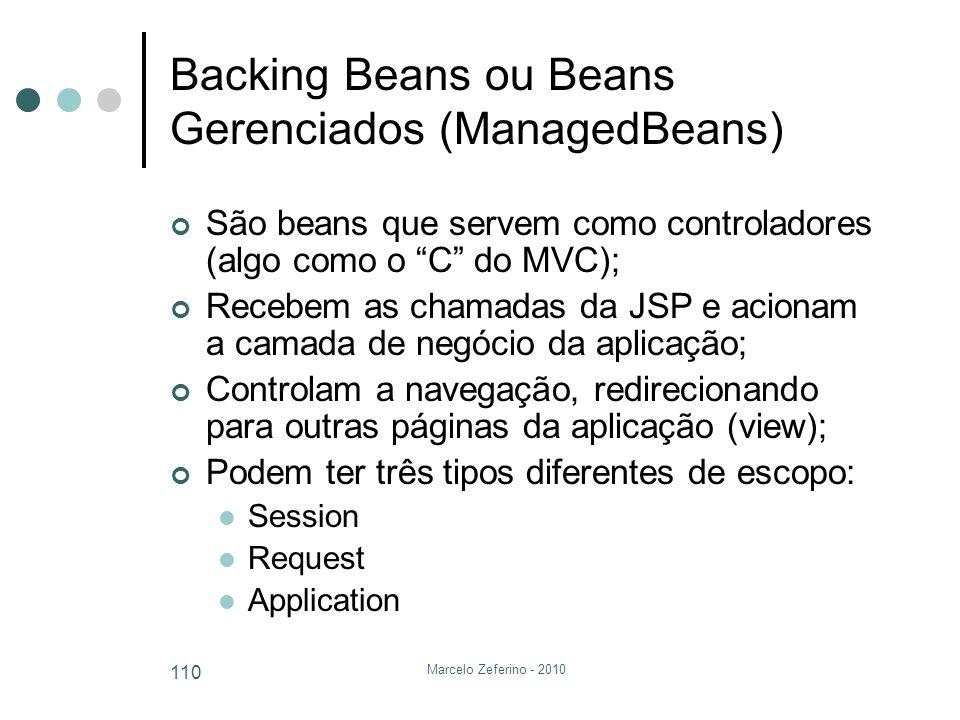 Marcelo Zeferino - 2010 110 Backing Beans ou Beans Gerenciados (ManagedBeans) São beans que servem como controladores (algo como o C do MVC); Recebem