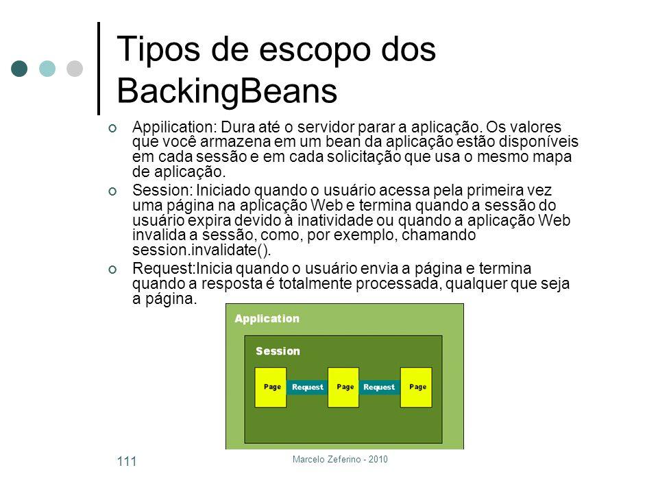 Marcelo Zeferino - 2010 111 Tipos de escopo dos BackingBeans Appilication: Dura até o servidor parar a aplicação. Os valores que você armazena em um b