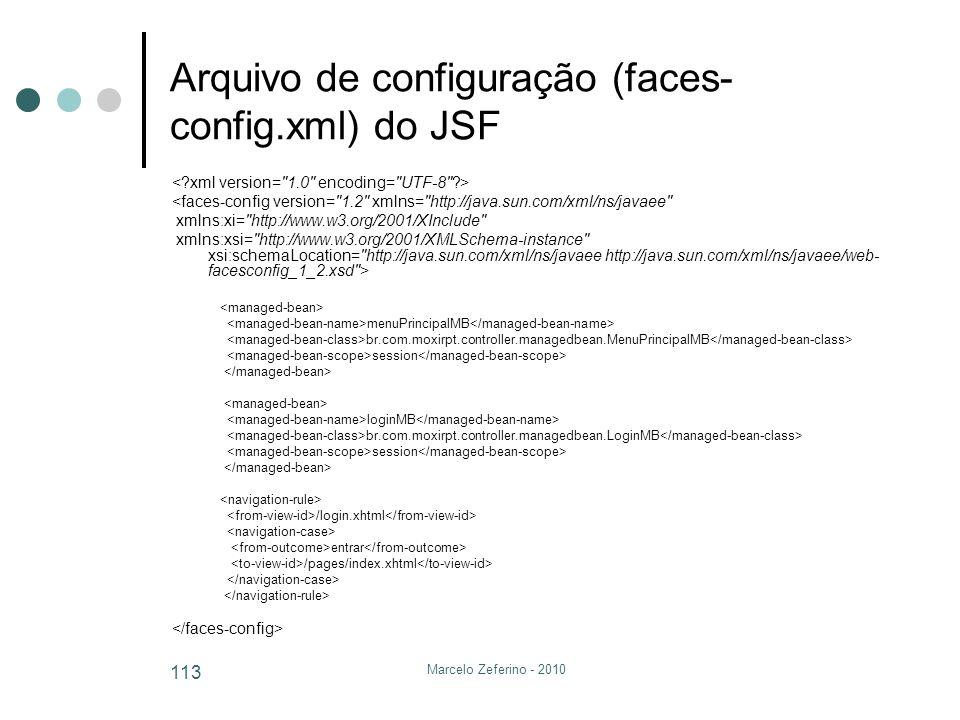 Marcelo Zeferino - 2010 113 Arquivo de configuração (faces- config.xml) do JSF <faces-config version=