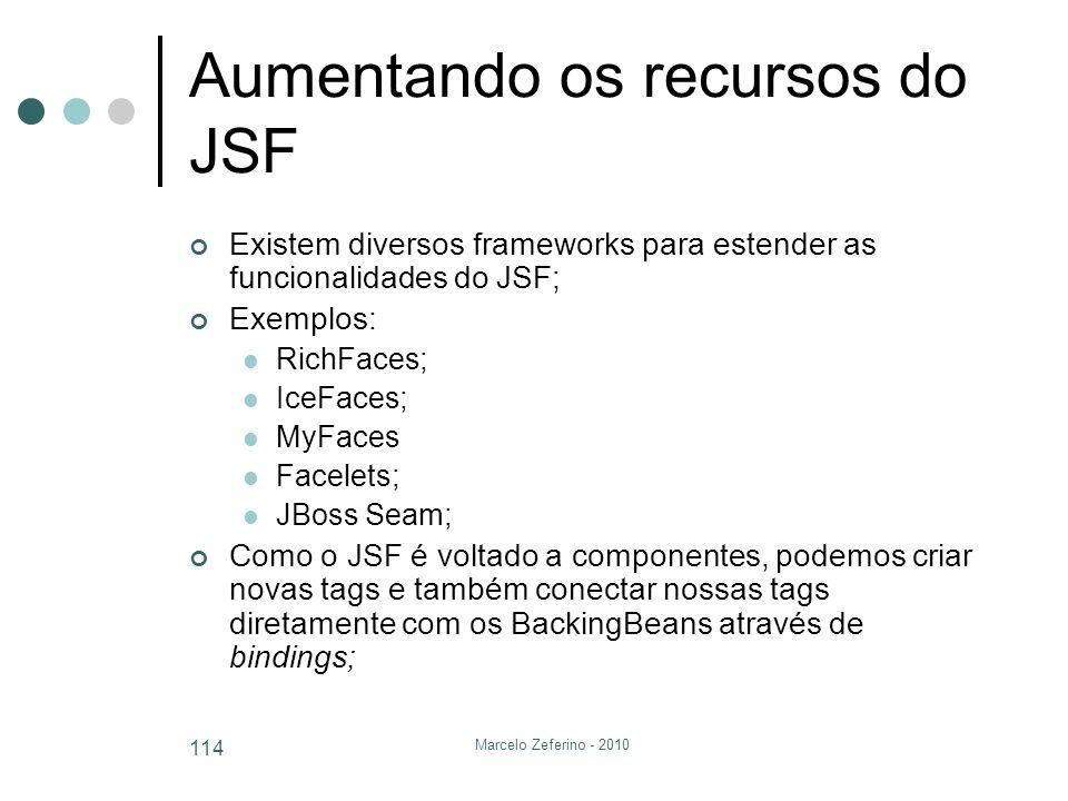 Marcelo Zeferino - 2010 114 Aumentando os recursos do JSF Existem diversos frameworks para estender as funcionalidades do JSF; Exemplos: RichFaces; Ic