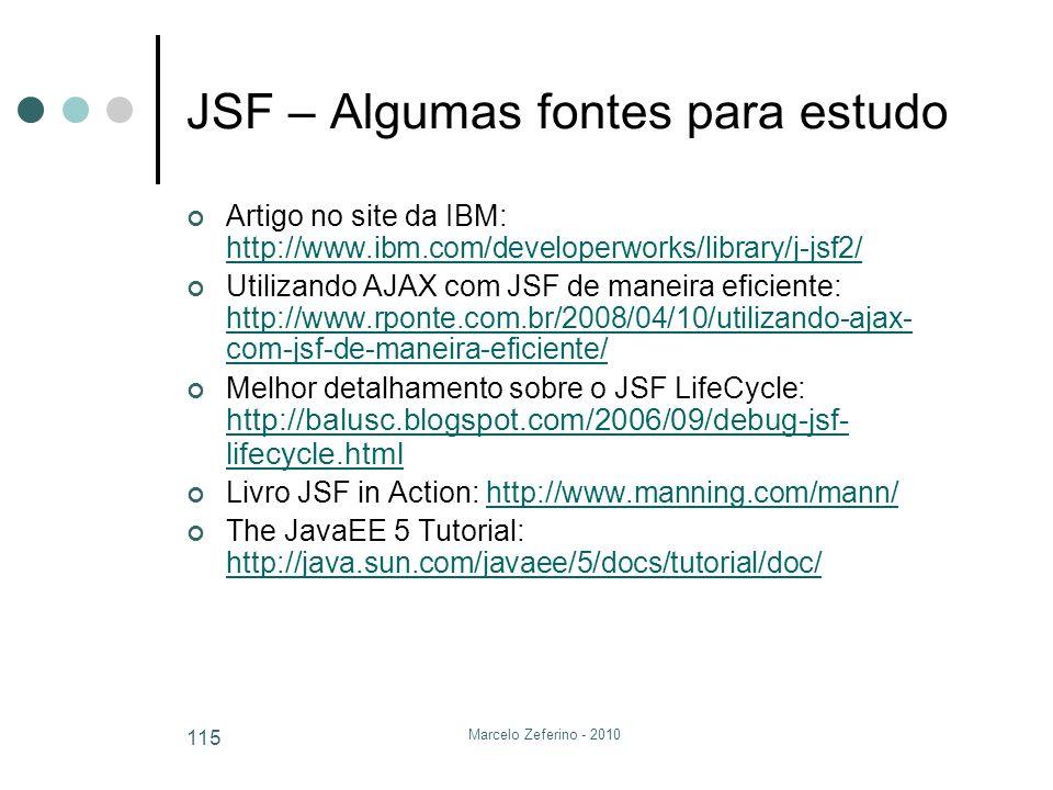 Marcelo Zeferino - 2010 115 JSF – Algumas fontes para estudo Artigo no site da IBM: http://www.ibm.com/developerworks/library/j-jsf2/ http://www.ibm.c