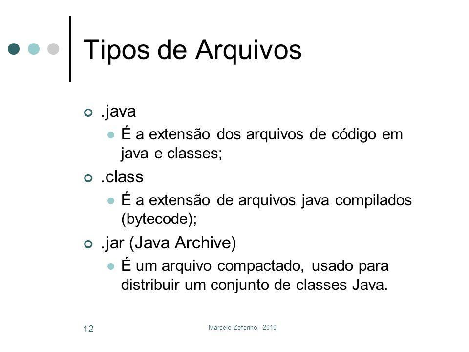 Marcelo Zeferino - 2010 12 Tipos de Arquivos.java É a extensão dos arquivos de código em java e classes;.class É a extensão de arquivos java compilado