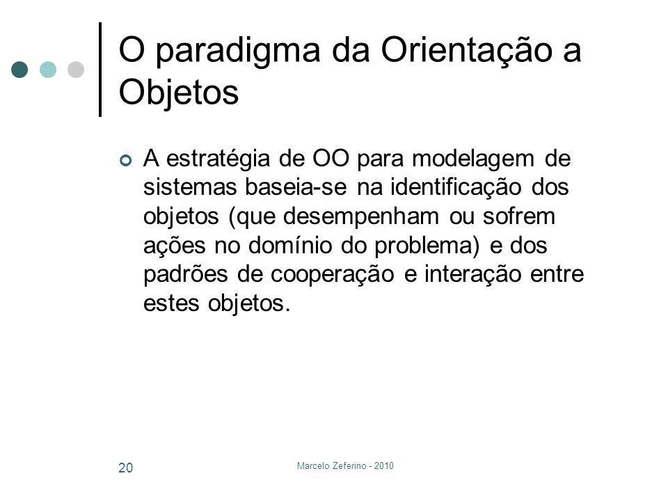 Marcelo Zeferino - 2010 20 O paradigma da Orientação a Objetos A estratégia de OO para modelagem de sistemas baseia-se na identificação dos objetos (q