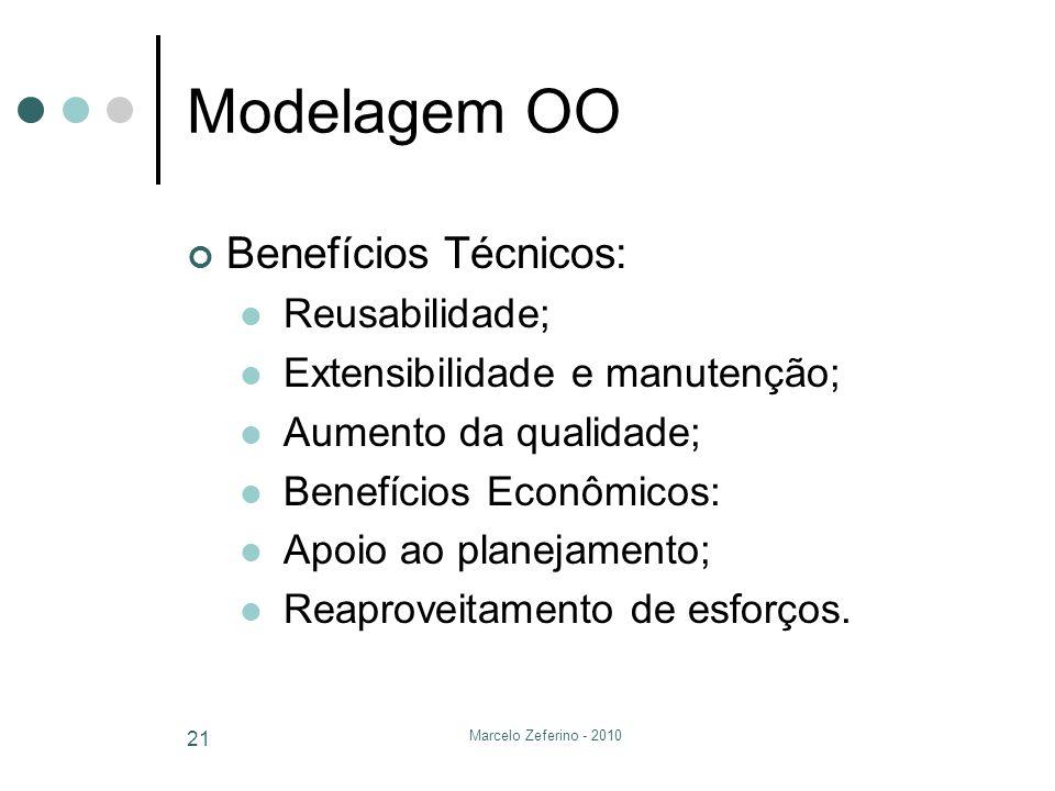 Marcelo Zeferino - 2010 21 Modelagem OO Benefícios Técnicos: Reusabilidade; Extensibilidade e manutenção; Aumento da qualidade; Benefícios Econômicos: