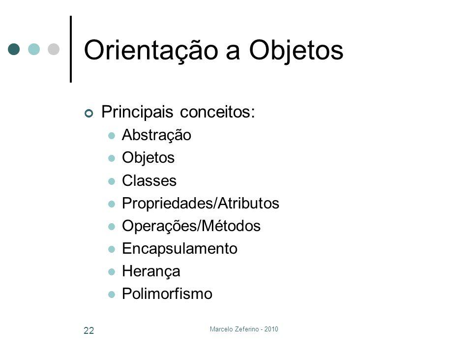Marcelo Zeferino - 2010 22 Orientação a Objetos Principais conceitos: Abstração Objetos Classes Propriedades/Atributos Operações/Métodos Encapsulament