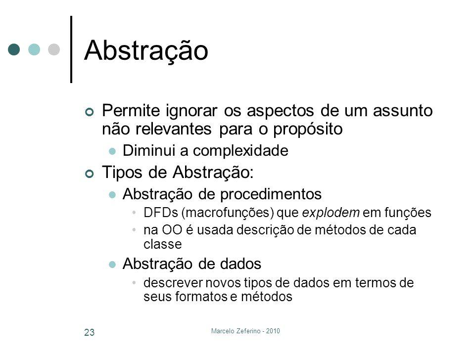 Marcelo Zeferino - 2010 23 Abstração Permite ignorar os aspectos de um assunto não relevantes para o propósito Diminui a complexidade Tipos de Abstraç