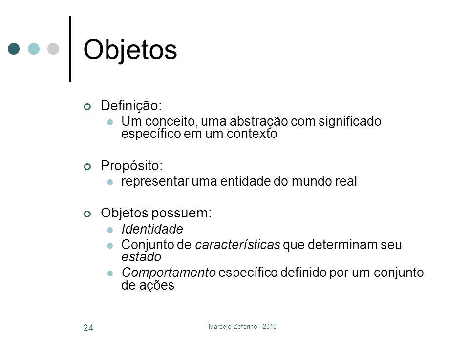 Marcelo Zeferino - 2010 24 Objetos Definição: Um conceito, uma abstração com significado específico em um contexto Propósito: representar uma entidade