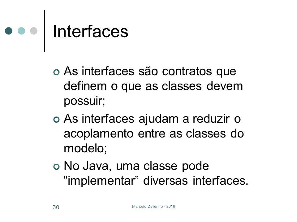 Marcelo Zeferino - 2010 30 Interfaces As interfaces são contratos que definem o que as classes devem possuir; As interfaces ajudam a reduzir o acoplam