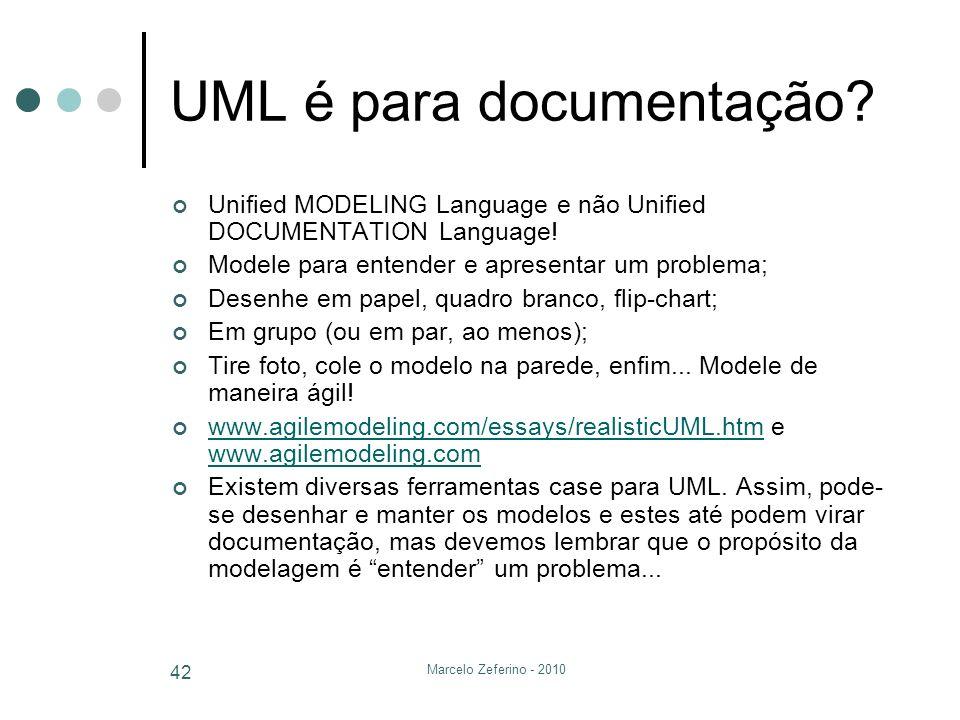 Marcelo Zeferino - 2010 42 UML é para documentação? Unified MODELING Language e não Unified DOCUMENTATION Language! Modele para entender e apresentar