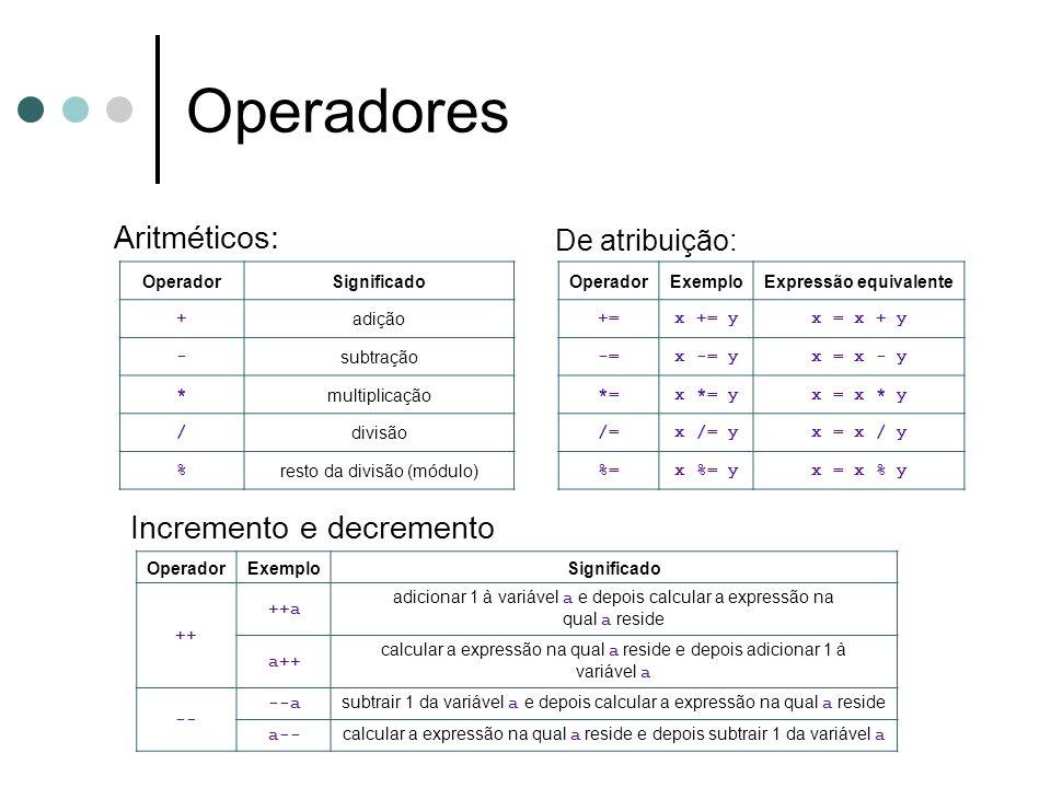 Marcelo Zeferino - 2010 50 Operadores Aritméticos: OperadorSignificado +adição -subtração *multiplicação /divisão %resto da divisão (módulo) De atribu