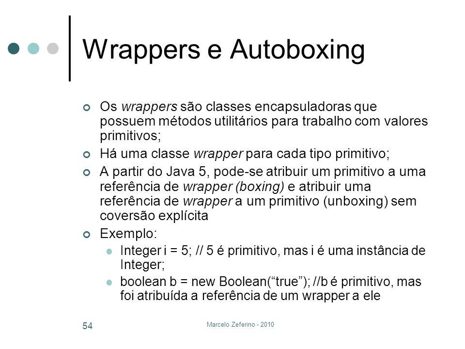 Marcelo Zeferino - 2010 54 Wrappers e Autoboxing Os wrappers são classes encapsuladoras que possuem métodos utilitários para trabalho com valores prim