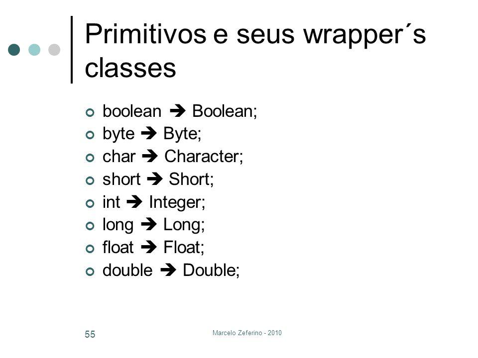 Marcelo Zeferino - 2010 55 Primitivos e seus wrapper´s classes boolean Boolean; byte Byte; char Character; short Short; int Integer; long Long; float