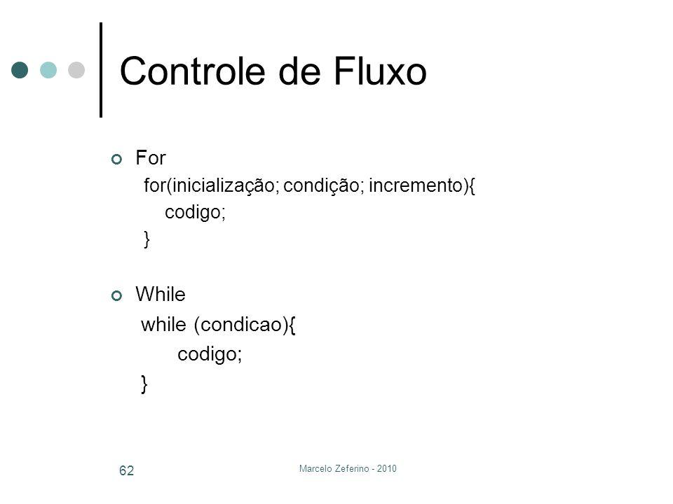Marcelo Zeferino - 2010 62 Controle de Fluxo For for(inicialização; condição; incremento){ codigo; } While while (condicao){ codigo; }