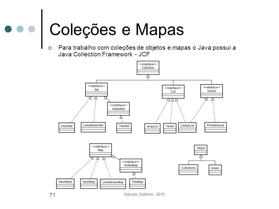 Marcelo Zeferino - 2010 71 Coleções e Mapas Para trabalho com coleções de objetos e mapas o Java possui a Java Collection Framework - JCF
