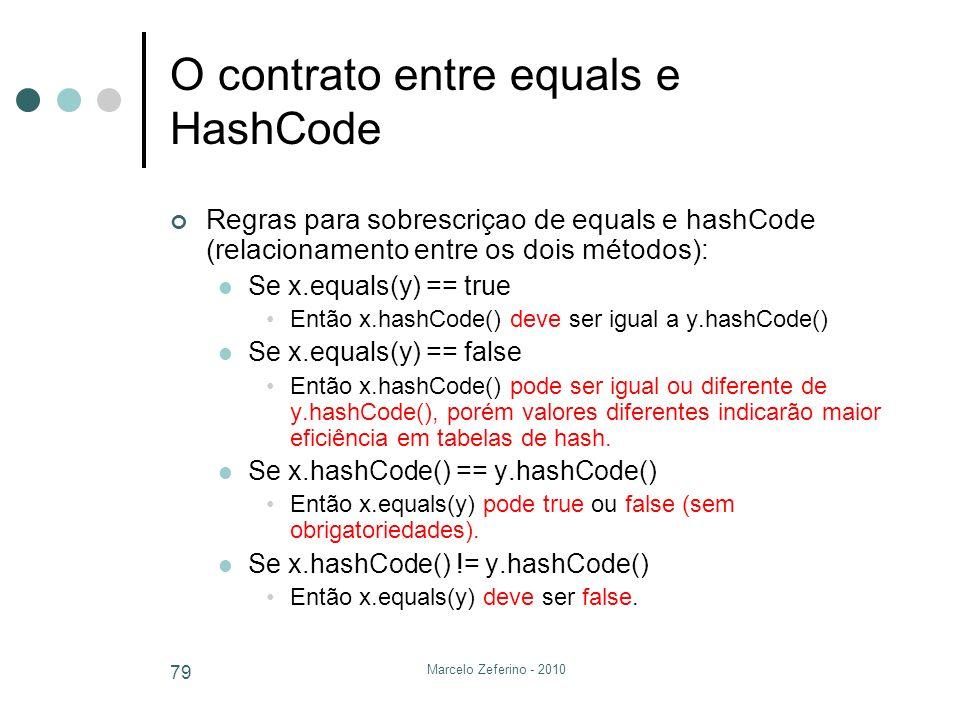 Marcelo Zeferino - 2010 79 O contrato entre equals e HashCode Regras para sobrescriçao de equals e hashCode (relacionamento entre os dois métodos): Se