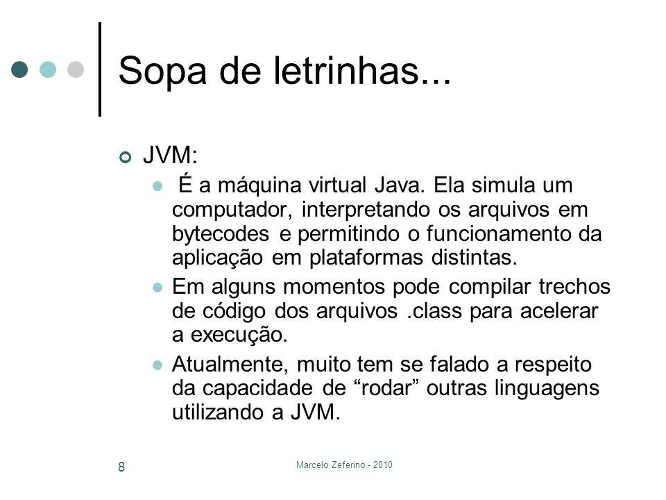 Marcelo Zeferino - 2010 8 Sopa de letrinhas... JVM: É a máquina virtual Java. Ela simula um computador, interpretando os arquivos em bytecodes e permi