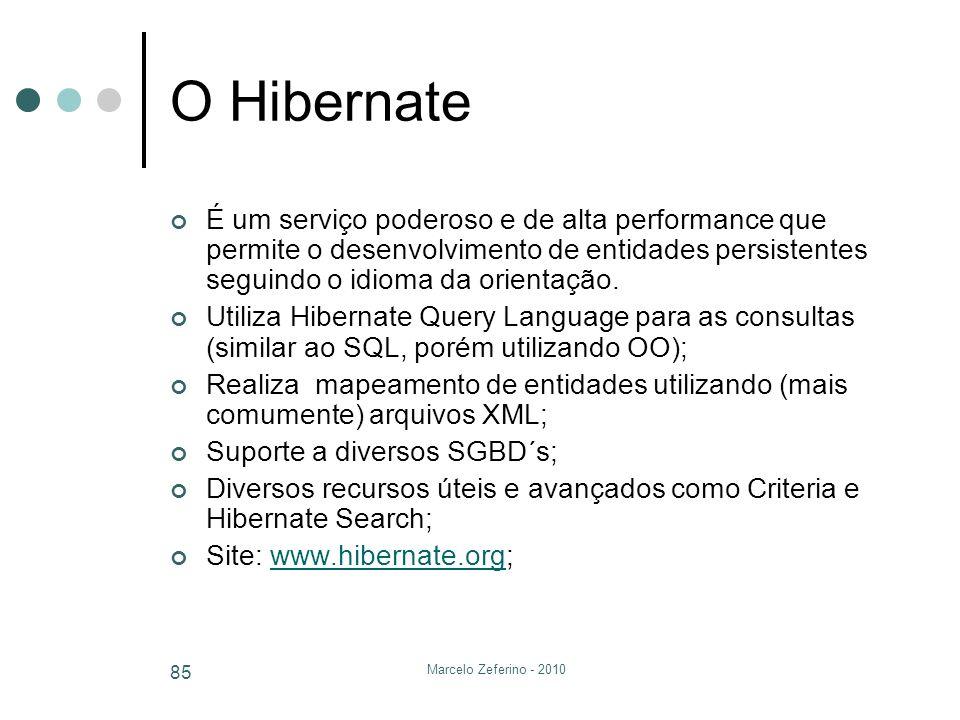 Marcelo Zeferino - 2010 85 O Hibernate É um serviço poderoso e de alta performance que permite o desenvolvimento de entidades persistentes seguindo o