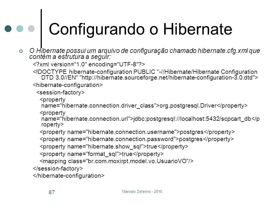 Marcelo Zeferino - 2010 87 Configurando o Hibernate O Hibernate possui um arquivo de configuração chamado hibernate.cfg.xml que contém a estrutura a s