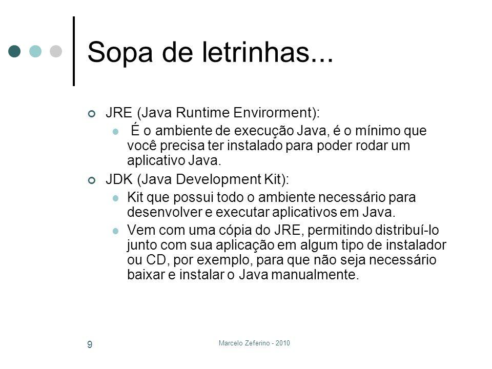 Marcelo Zeferino - 2010 9 Sopa de letrinhas... JRE (Java Runtime Envirorment): É o ambiente de execução Java, é o mínimo que você precisa ter instalad