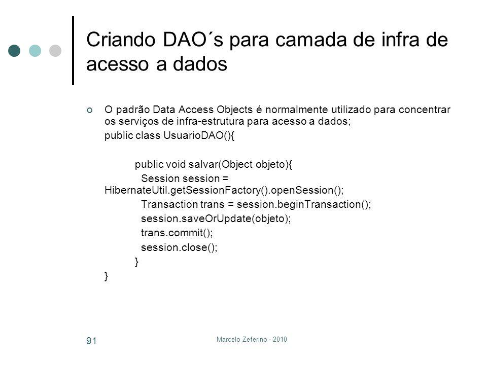 Marcelo Zeferino - 2010 91 Criando DAO´s para camada de infra de acesso a dados O padrão Data Access Objects é normalmente utilizado para concentrar o