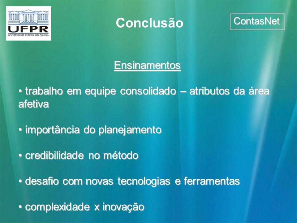 ContasNet Conclusão Ensinamentos trabalho em equipe consolidado – atributos da área afetiva trabalho em equipe consolidado – atributos da área afetiva