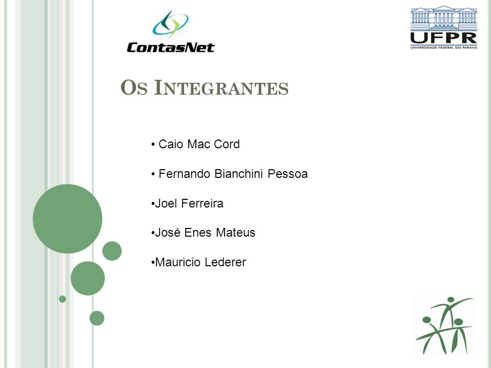 O S I NTEGRANTES Caio Mac Cord Fernando Bianchini Pessoa Joel Ferreira José Enes Mateus Mauricio Lederer