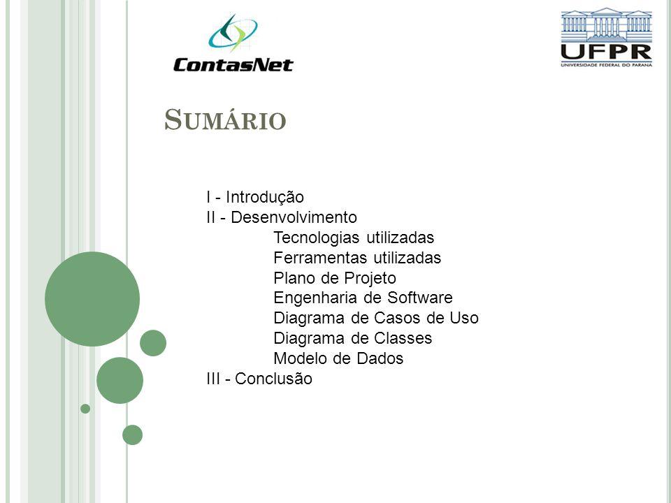 S UMÁRIO I - Introdução II - Desenvolvimento Tecnologias utilizadas Ferramentas utilizadas Plano de Projeto Engenharia de Software Diagrama de Casos de Uso Diagrama de Classes Modelo de Dados III - Conclusão