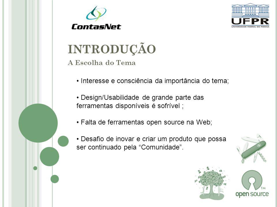 INTRODUÇÃO A Escolha do Tema Interesse e consciência da importância do tema; Design/Usabilidade de grande parte das ferramentas disponíveis é sofrível ; Falta de ferramentas open source na Web; Desafio de inovar e criar um produto que possa ser continuado pela Comunidade.