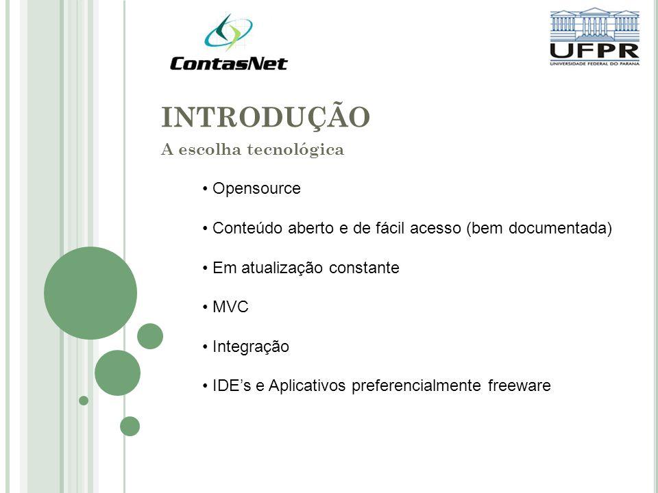 INTRODUÇÃO A escolha tecnológica Opensource Conteúdo aberto e de fácil acesso (bem documentada) Em atualização constante MVC Integração IDEs e Aplicativos preferencialmente freeware