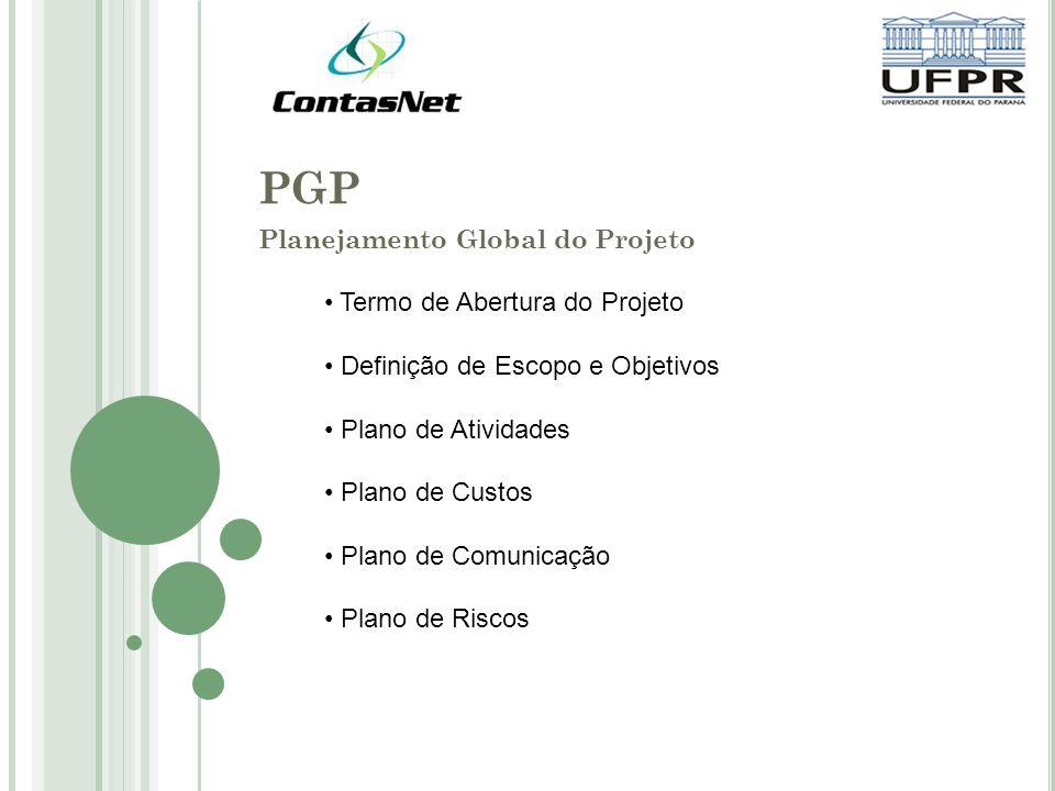 PGP Planejamento Global do Projeto Termo de Abertura do Projeto Definição de Escopo e Objetivos Plano de Atividades Plano de Custos Plano de Comunicação Plano de Riscos