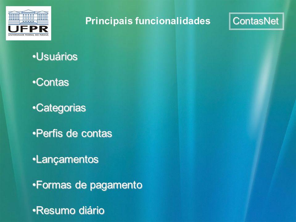 ContasNet Principais funcionalidades UsuáriosUsuários ContasContas CategoriasCategorias Perfis de contasPerfis de contas LançamentosLançamentos Formas