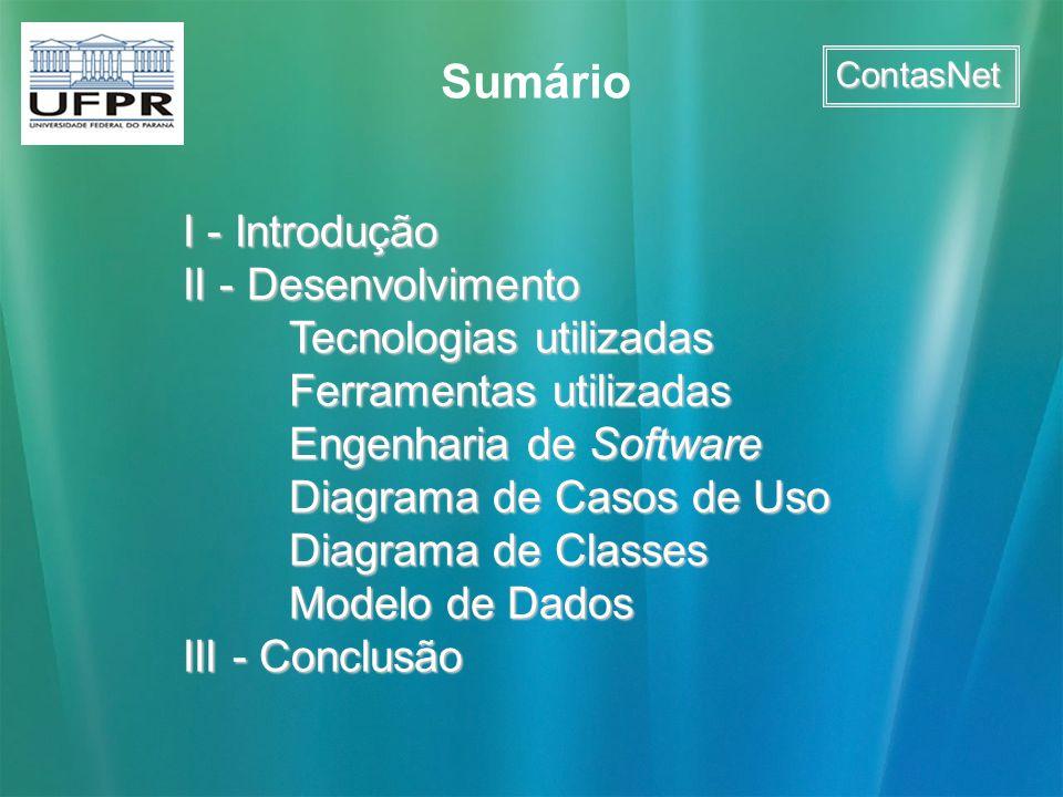 ContasNet I - Introdução II - Desenvolvimento Tecnologias utilizadas Ferramentas utilizadas Engenharia de Software Diagrama de Casos de Uso Diagrama d