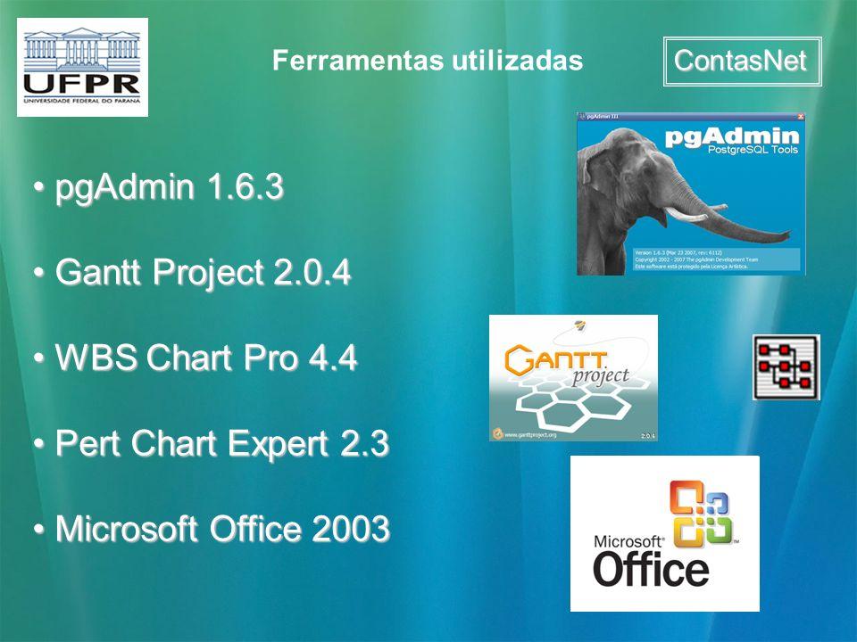 ContasNet Ferramentas utilizadas pgAdmin 1.6.3 pgAdmin 1.6.3 Gantt Project 2.0.4 Gantt Project 2.0.4 WBS Chart Pro 4.4 WBS Chart Pro 4.4 Pert Chart Ex