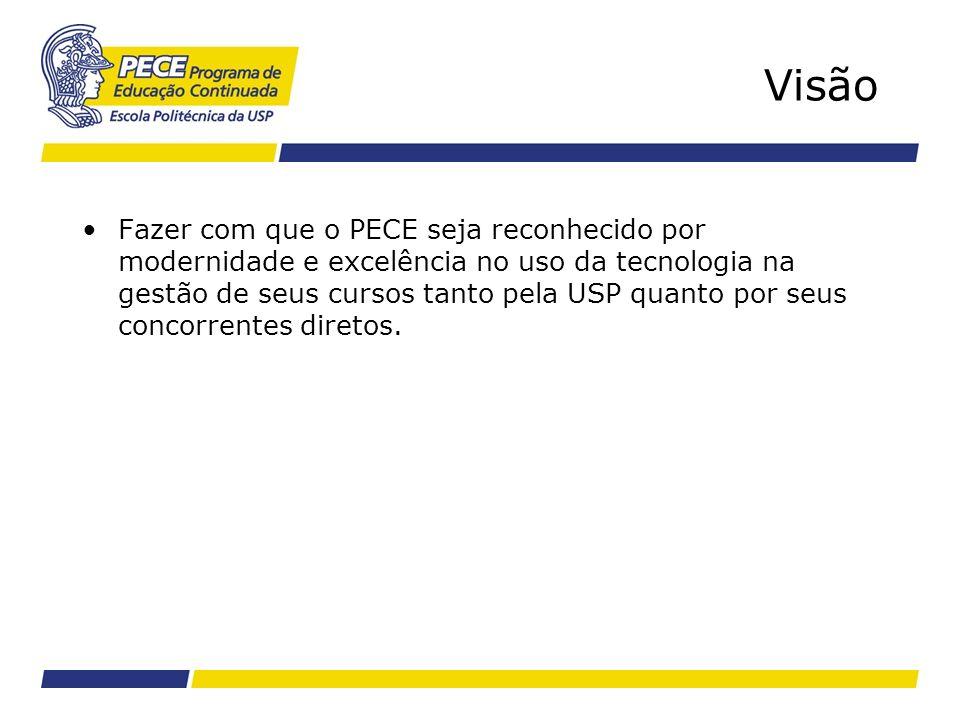 Visão Fazer com que o PECE seja reconhecido por modernidade e excelência no uso da tecnologia na gestão de seus cursos tanto pela USP quanto por seus