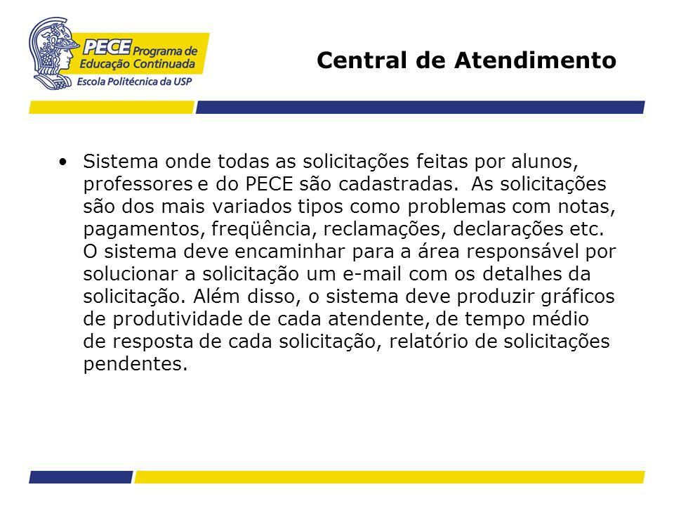 Central de Atendimento Sistema onde todas as solicitações feitas por alunos, professores e do PECE são cadastradas. As solicitações são dos mais varia