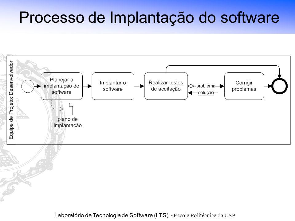 Laboratório de Tecnologia de Software (LTS) - Escola Politécnica da USP Processo de Implantação do software