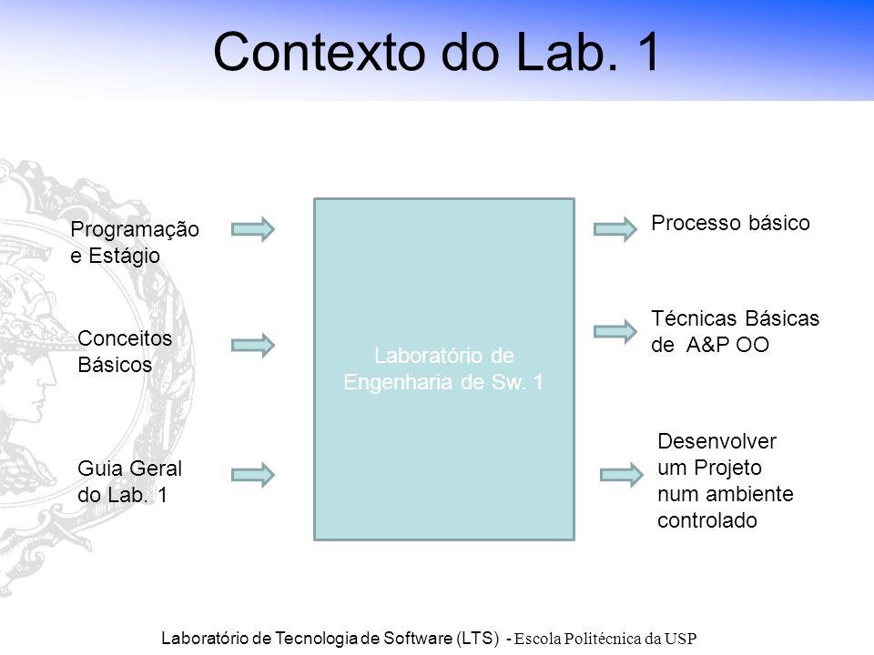 Laboratório de Tecnologia de Software (LTS) - Escola Politécnica da USP Contexto do Lab. 1 Laboratório de Engenharia de Sw. 1 Programação e Estágio Co