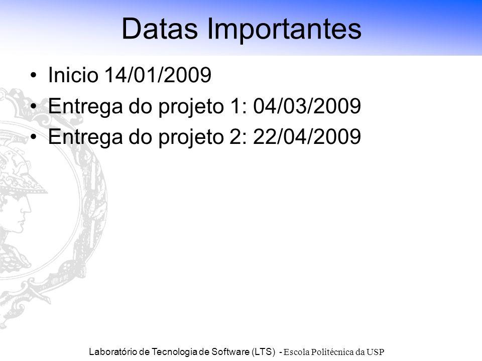 Laboratório de Tecnologia de Software (LTS) - Escola Politécnica da USP Datas Importantes Inicio 14/01/2009 Entrega do projeto 1: 04/03/2009 Entrega d