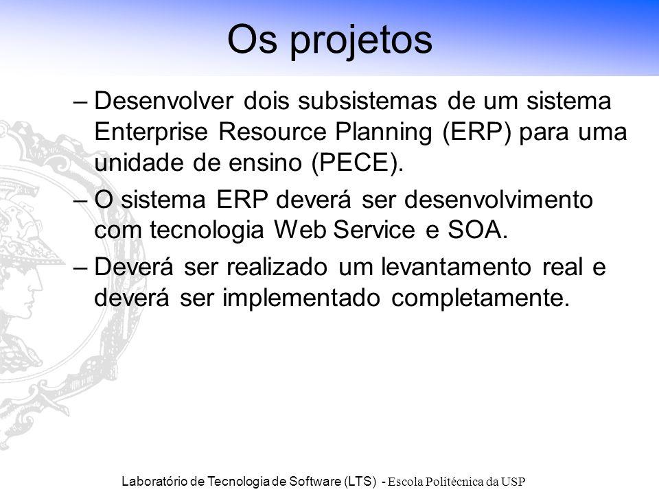 Laboratório de Tecnologia de Software (LTS) - Escola Politécnica da USP Os projetos –Desenvolver dois subsistemas de um sistema Enterprise Resource Pl
