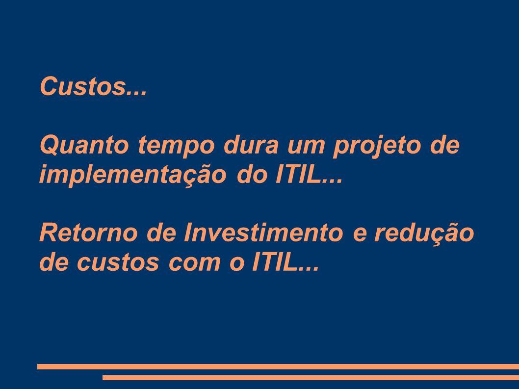 Custos... Quanto tempo dura um projeto de implementação do ITIL... Retorno de Investimento e redução de custos com o ITIL...